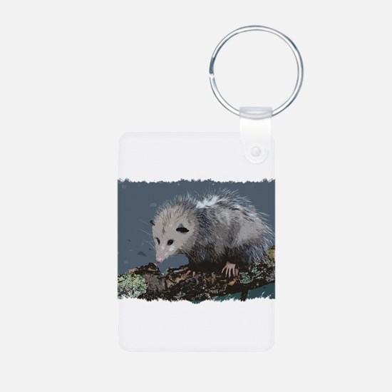 Opossum on a Gnarley Branch Keychains