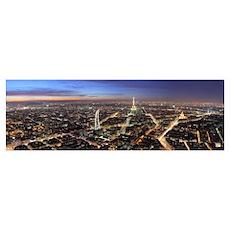 Paris at dusk from Montparnasse Poster