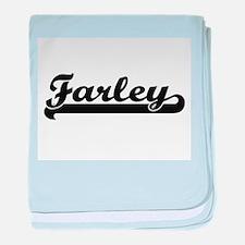 Farley surname classic retro design baby blanket