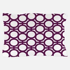 Dark Purple and White Eyelets Pillow Case