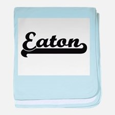 Eaton surname classic retro design baby blanket