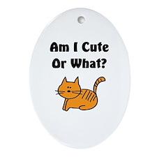 Am I Cute? Cat Oval Ornament