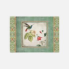 Chinoiserie Hummingbird n Exotic Fl 5'x7'Area Rug