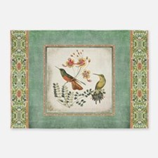 Chinoiserie Hummingbird n Exotic Fl 5'x7'Area Rug