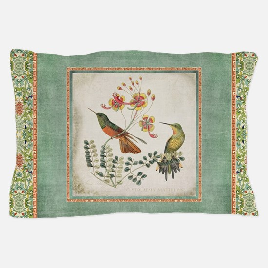 Chinoiserie Hummingbird n Exotic Flora Pillow Case