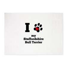 I Heart My Staffordshire Bull Terrier 5'x7'Area Ru