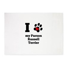 I Heart My Parson Russell Terrier 5'x7'Area Rug