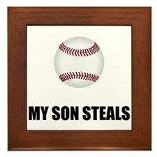 Son Steals Baseball Framed Tile