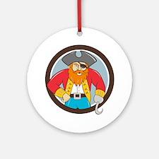 Captain Hook Pirate Circle Cartoon Ornament (Round