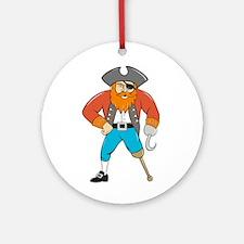 Captain Hook Pirate Wooden Leg Cartoon Ornament (R