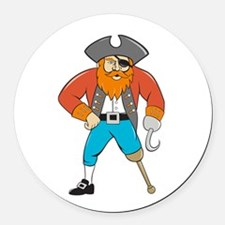 Captain Hook Pirate Wooden Leg Cartoon Round Car M