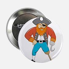 """Captain Hook Pirate Wooden Leg Cartoon 2.25"""" Butto"""