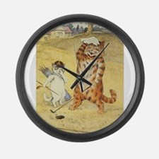 golfing art Large Wall Clock