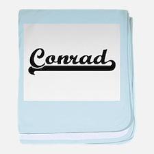 Conrad surname classic retro design baby blanket