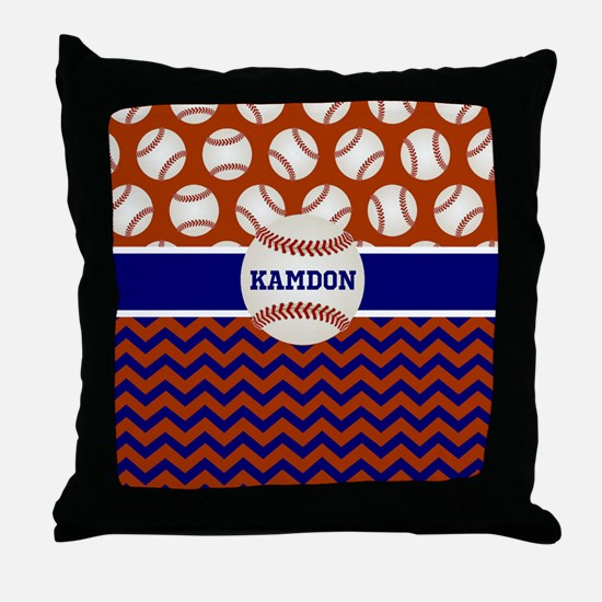 Baseball Blue Red Personalized Throw Pillow
