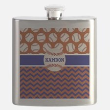 Baseball Blue Red Personalized Flask