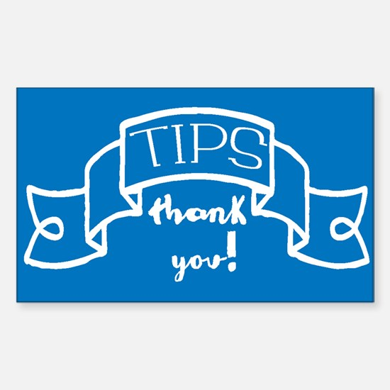Blue And White Tip Jar Decal