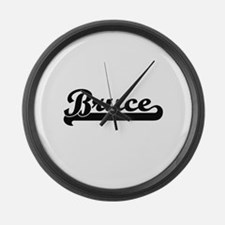 Bruce surname classic retro desig Large Wall Clock