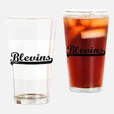 Blevins surname classic retro desig Drinking Glass