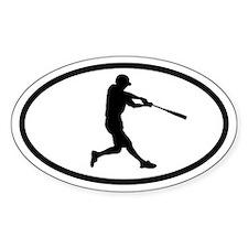 Baseball Hitter Oval Bumper Stickers