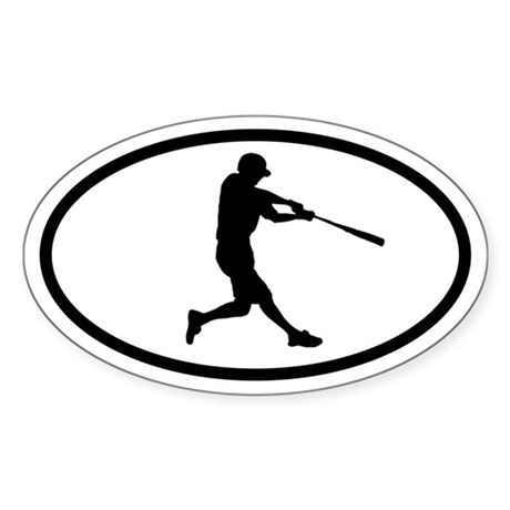 Baseball Hitter Oval Sticker