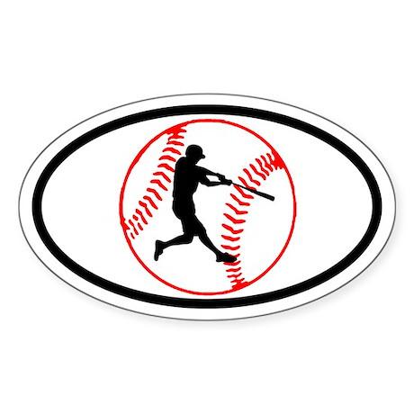 Baseball Ball and Hitter Oval Sticker