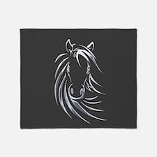 Silver Horse Throw Blanket