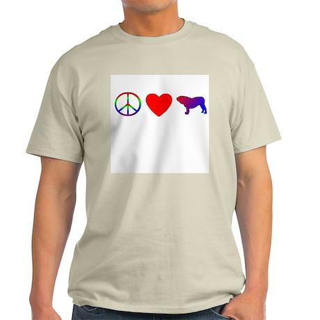 Peace, Love, English Bulldog Light T-Shirt