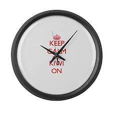 Keep calm and Kiwi ON Large Wall Clock