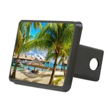 Bungalow And Hammock On Exotic Beach Hitch Cover