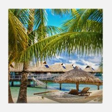 Bungalow And Hammock On Exotic Beach Tile Coaster