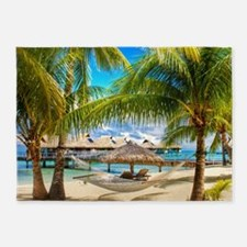 Bungalow And Hammock On Exotic Beach 5'x7'Area Rug
