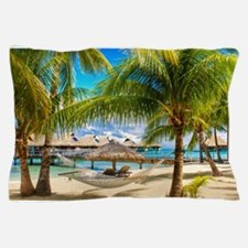 Bungalow And Hammock On Exotic Beach Pillow Case