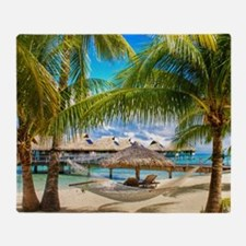 Bungalow And Hammock On Exotic Beach Throw Blanket