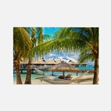 Bungalow And Hammock On Exotic Beach Magnets