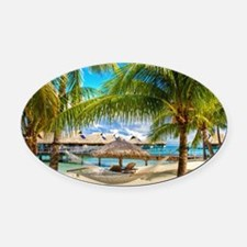Bungalow And Hammock On Exotic Beach Oval Car Magn