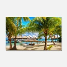 Bungalow And Hammock On Exotic Beach Car Magnet 20