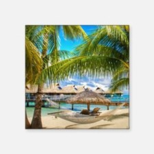 Bungalow And Hammock On Exotic Beach Sticker