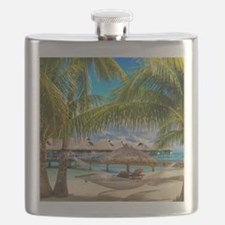 Bungalow And Hammock On Exotic Beach Flask
