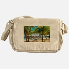 Bungalow And Hammock On Exotic Beach Messenger Bag
