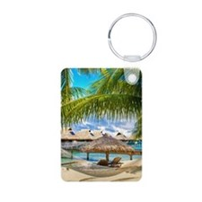 Bungalow And Hammock On Exotic Beach Keychains
