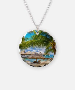 Bungalow And Hammock On Exotic Beach Necklace