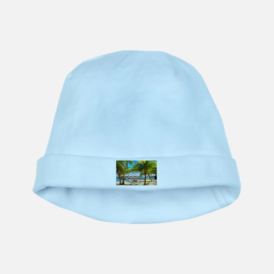 Bungalow And Hammock On Exotic Beach baby hat