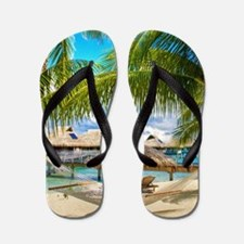 Bungalow And Hammock On Exotic Beach Flip Flops