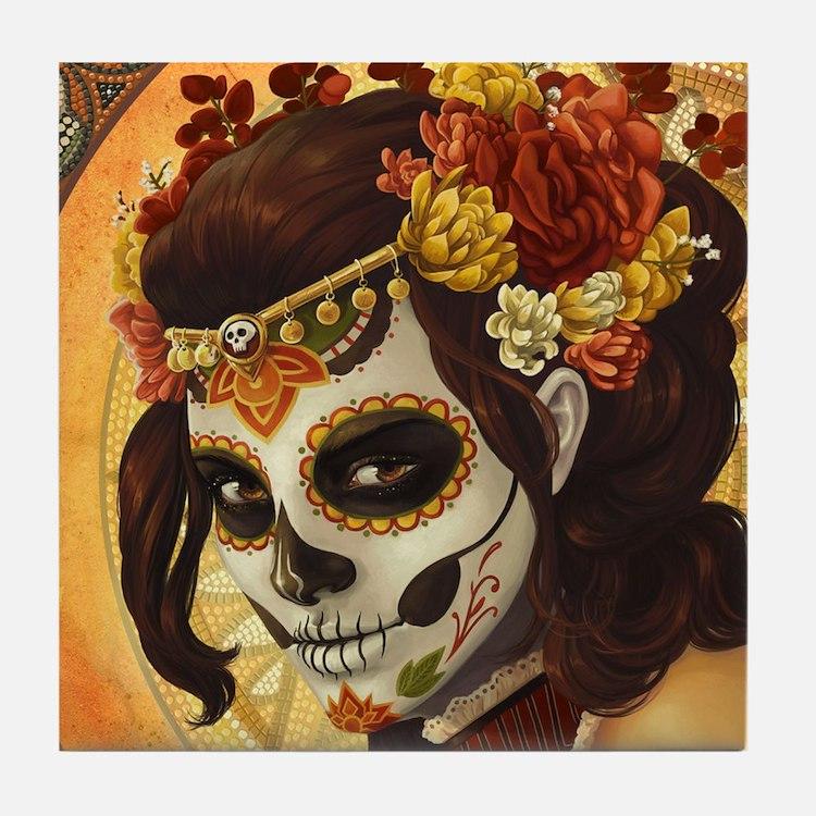 Dia De Los Muertos Tile Coaster