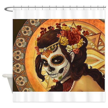 Dia De Los Muertos Shower Curtain By Wickeddesigns4