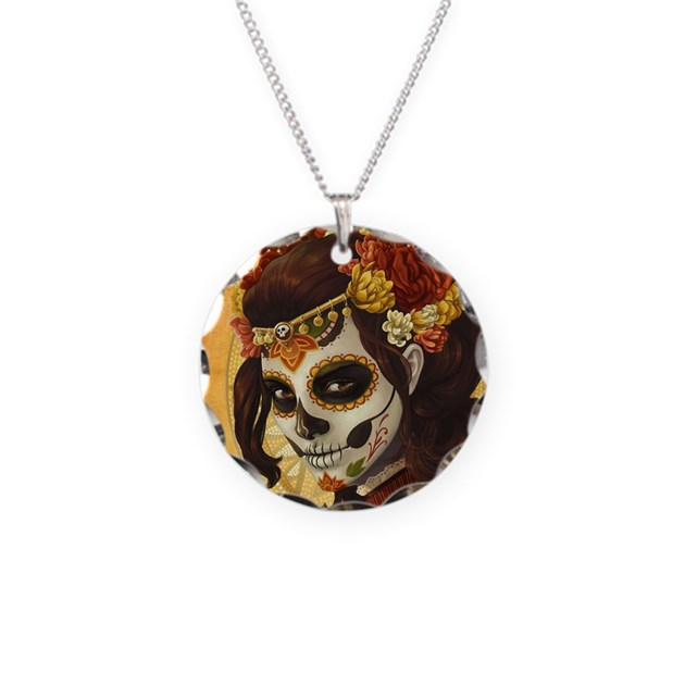 dia de los muertos necklace by wickeddesigns4
