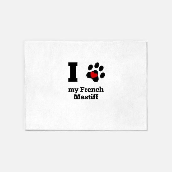 I Heart My French Mastiff 5'x7'Area Rug