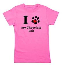 I Heart My Chocolate Lab Girl's Tee