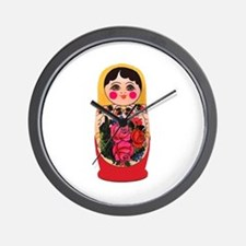 Matryoshka Russian Traditional doll Bab Wall Clock